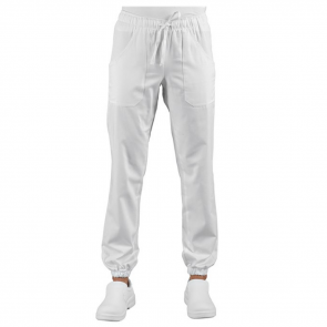 Pantalon de travail médical / cuisine élastiqué Isacco blanc Pantagiaffa