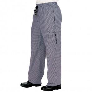 """Pantalon de cuisine """"pied de poule"""" Multipoches Isacco Pantachef 100% coton"""