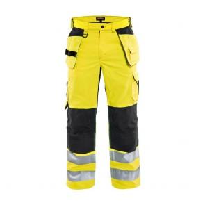 Pantalon de travail aéré haute visibilité Blaklader Artisan classe 2 Jaune / Noir avant