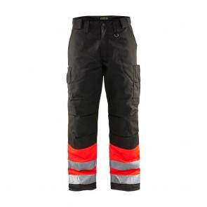Pantalon de travail haute visibilité polycoton Blaklader Hiver Rouge / noir