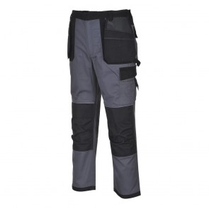 Pantalon de travail Multi Poches Portwest Dresden gris poches noires