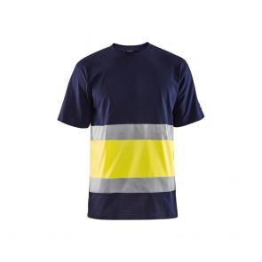 T-shirt haute visibilité Blaklader col rond Marine/Jaune face