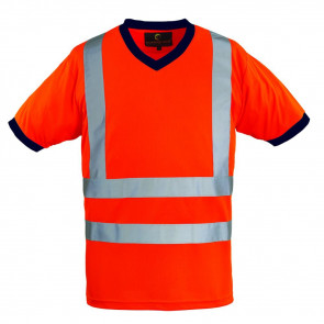T-shirt haute visibilité Coverguard Yard Col V orange