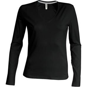 Tee-shirt femme col V manches longues Kariban 100% coton