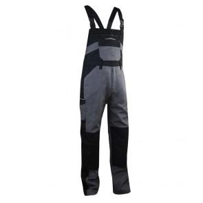 Cotte / Salopette à bretelles bicolore avec poches genouillères LMA Basilic noir gris