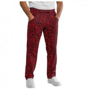 Pantalon de cuisine japonais Isacco Sushi noir et rouge