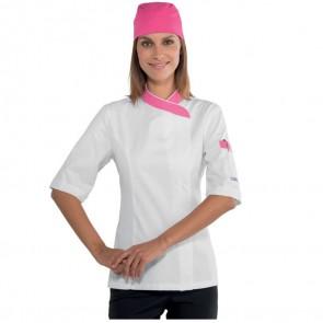 Veste de cuisine femme Isacco Lady Snap Blanc col Rose manches courtes