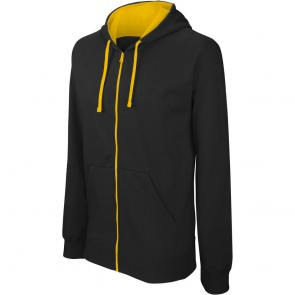 Sweat-shirt zippé capuche contrastée Kariban Noir jaune