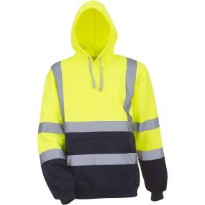Sweatshirt capuche haute visibilité femme Yoko jaune marine