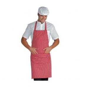 Tablier de cuisine à bavette Isacco Pettorina Rouge à rayures