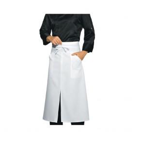 Tablier de cuisine fendu Isacco Versailles à poches blanc 100% coton