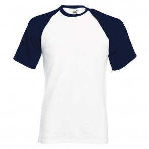 Tee-shirt baseball manches courtes Fruit Of The Loom blanc marine