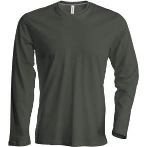 Tee-shirt de travail col rond manches longues Kariban 100% coton Kaki fonce