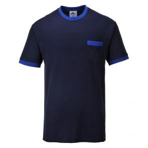 Tee Shirt de travail Portwest Contrast Texo bleu