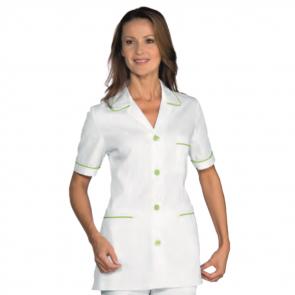 Blouse médicale femme bicolore Isacco manches courtes Blanc/Vert