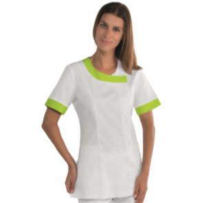 Blouse médicale femme Isacco manches courtes Blanc/Vert