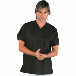 Blouse médicale unisexe Isacco manches courtes Noir