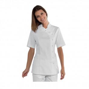 Tunique médicale femme Isacco Nizza blanche manches courtes