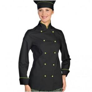 Veste de cuisine femme Ultra Légère Isacco Noir vert Extra Light