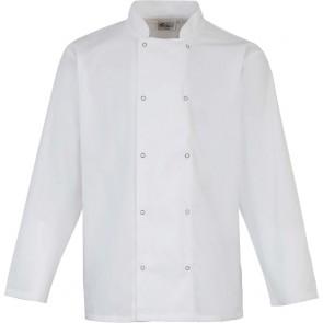 Veste de cuisine manches longues à boutons pression Unisexe blanc