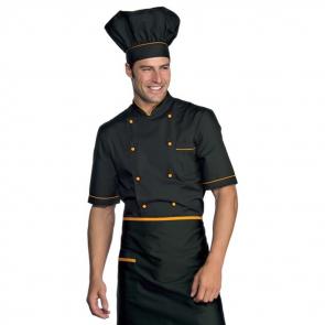 Veste de cuisine noir et orange Cuoco Isacco MC