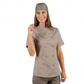 Veste de cuisine Tourterelle femme manches courtes Isacco Lady Chef