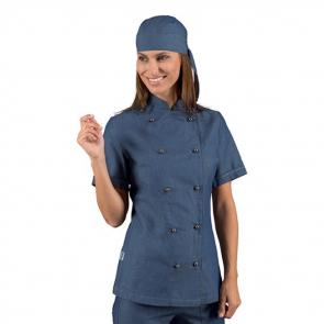 Veste de cuisine Jean femme manches courtes Isacco Lady Jeans