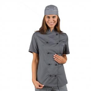 Veste de cuisine grise femme manches courtes Isacco Lady Chef