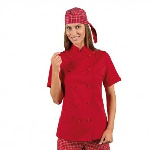 Veste de cuisine rouge femme manches courtes Isacco Red Lady