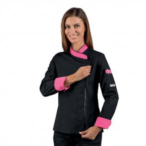 Veste de cuisine zippée femme manches longues Isacco noir motifs roses