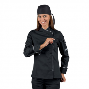 Veste de cuisine zippée femme manches longues Isacco noire liseré blanc