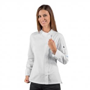Veste de cuisine femme zippée manches longues Isacco Giacca blanche