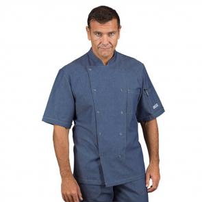 Veste de cuisine Jean homme manches courtes Isacco boutons pression