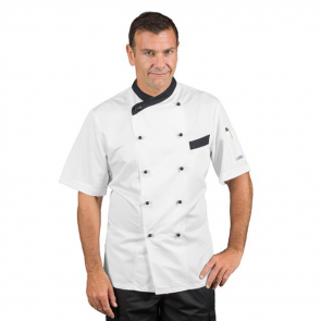 Veste de cuisine respirante homme manches courtes Isacco Giza blanc motif noir