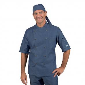 Veste de cuisine Jean homme manches courtes Isacco Panama Slim