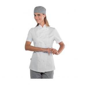 Veste de cuisine femme manches courtes Isacco Lady Chef blanche 100% coton