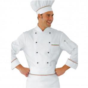 Veste de cuisine Italienne blanche Isacco Prestige 100% coton motif Italy