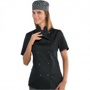Veste de cuisine noire femme Isacco manches courtes boutons pression