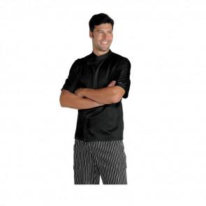 Veste de cuisine noire Isacco Malaga Super Dry manches courtes