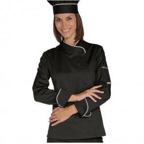 Veste de cuisine noire blanche femme Isacco Lady Snaps