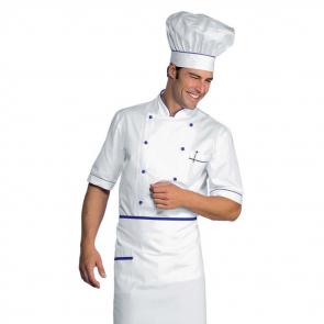 Veste de cuisine blanche et bleu manches 1/2 Isacco