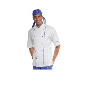 Veste de cuisine Isacco Bluechef 100% coton bleu et blanche
