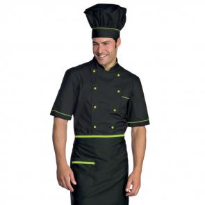 Veste de cuisine manches courtes noir verte Isacco Cuoco
