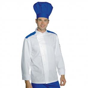 Veste de cuisine Manches longue Blanche et bleu Malaga Isacco