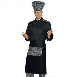 Veste de cuisine manches longue Noir à motifs Malaga Isacco