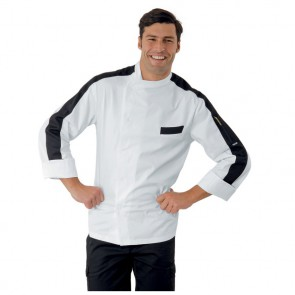 Veste de cuisine noir et blanche Isacco Manhattan 100% coton
