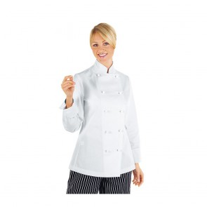 Veste de cuisine femme Isacco manches longues 100% coton