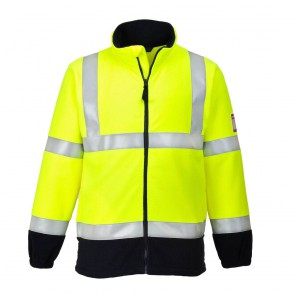 Polaire de travail haute-visibilité Portwest résistant à la flamme jaune/marine