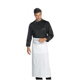Veste de cuisine micro aérée Isacco Pretoria noir liseré blanc