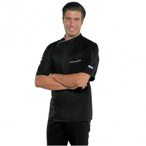 Veste de cuisine noire Isacco Bilbao Super Dry manches courtes